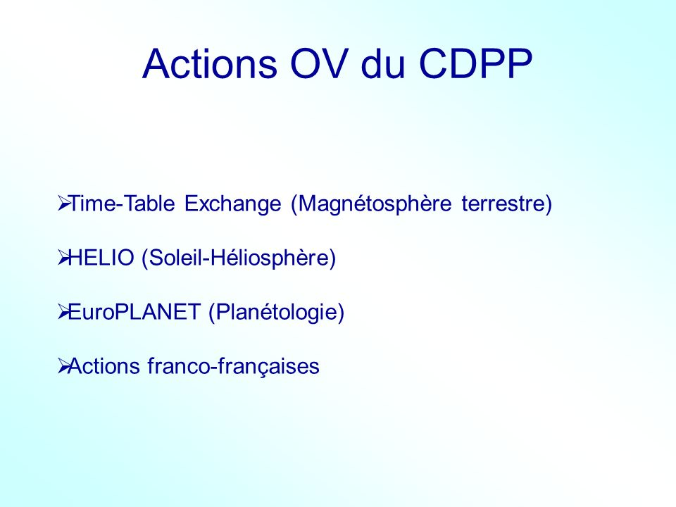 Actions OV du CDPP Time-Table Exchange (Magnétosphère terrestre)