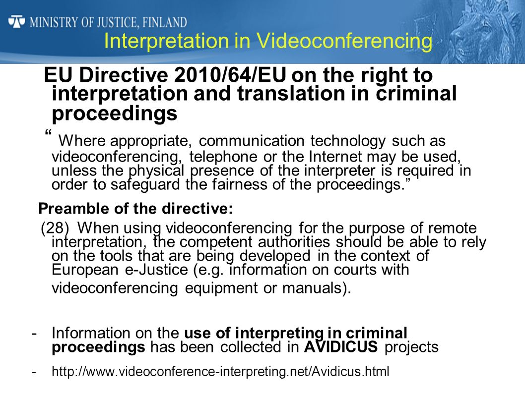 Interpretation in Videoconferencing