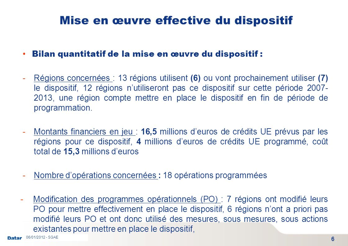 Mise en œuvre effective du dispositif