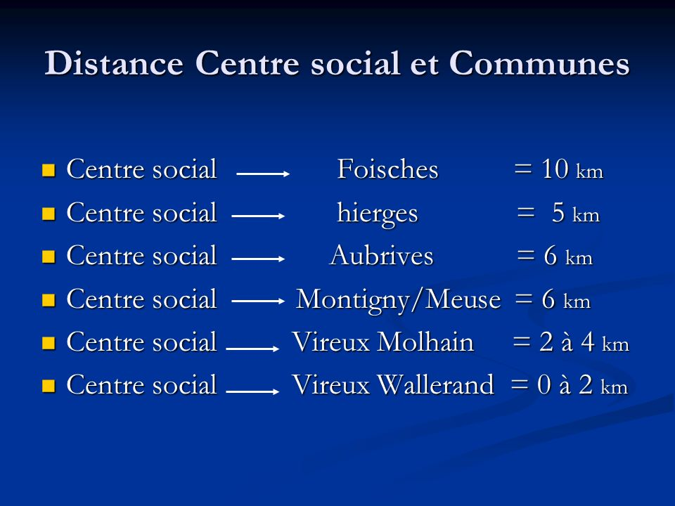 Distance Centre social et Communes