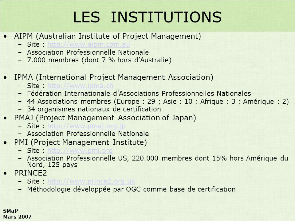 LES INSTITUTIONS AIPM (Australian Institute of Project Management)