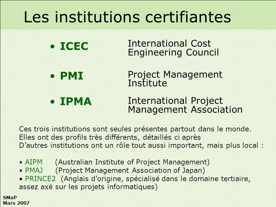 Les institutions certifiantes