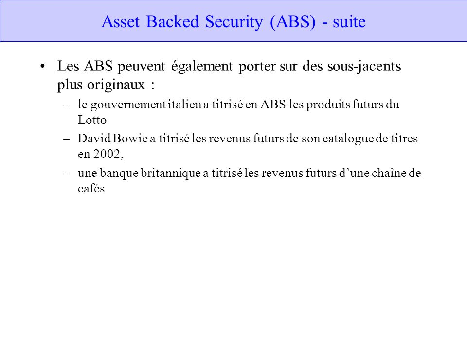 Asset Backed Security (ABS) - suite