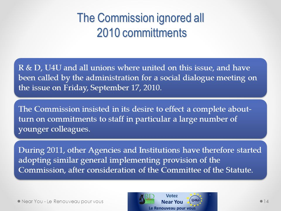 The Commission ignored all 2010 committments