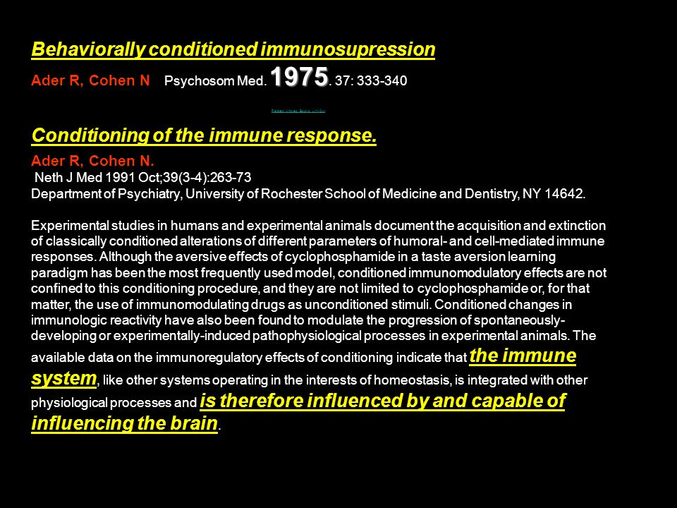 Behaviorally conditioned immunosupression