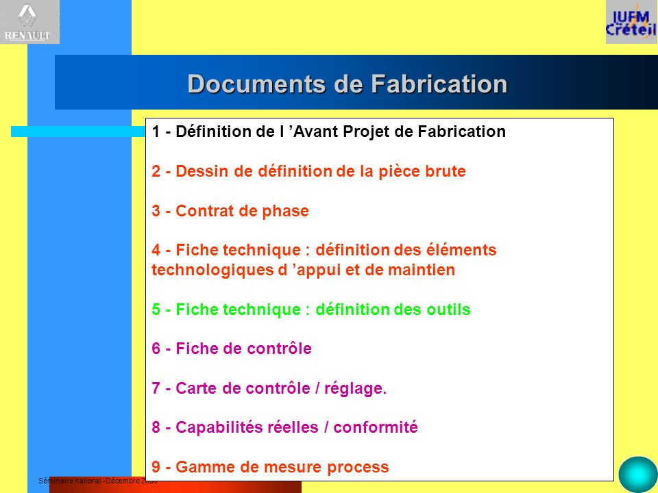 Documents de Fabrication