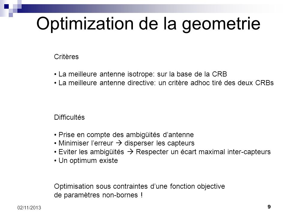 Optimization de la geometrie