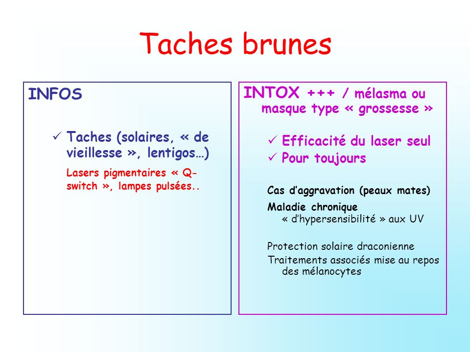 Taches brunes INFOS INTOX +++ / mélasma ou masque type « grossesse »