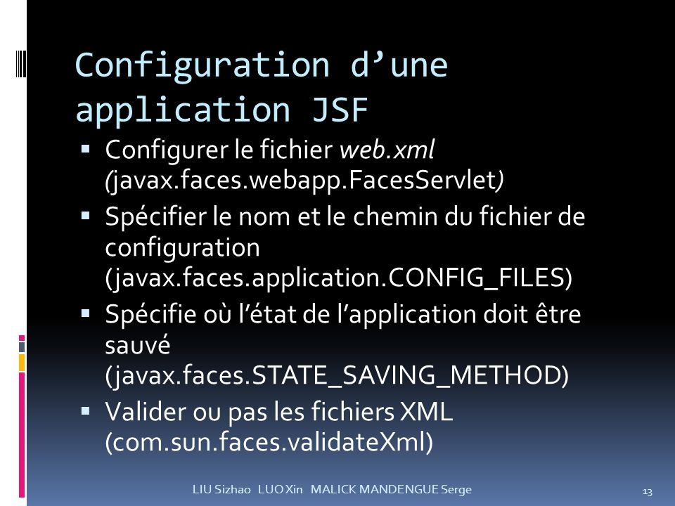 Configuration d'une application JSF