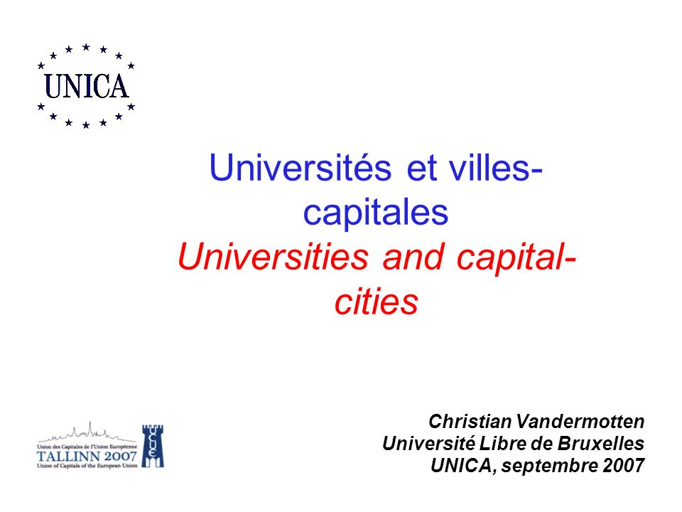 Universités et villes-capitales Universities and capital-cities