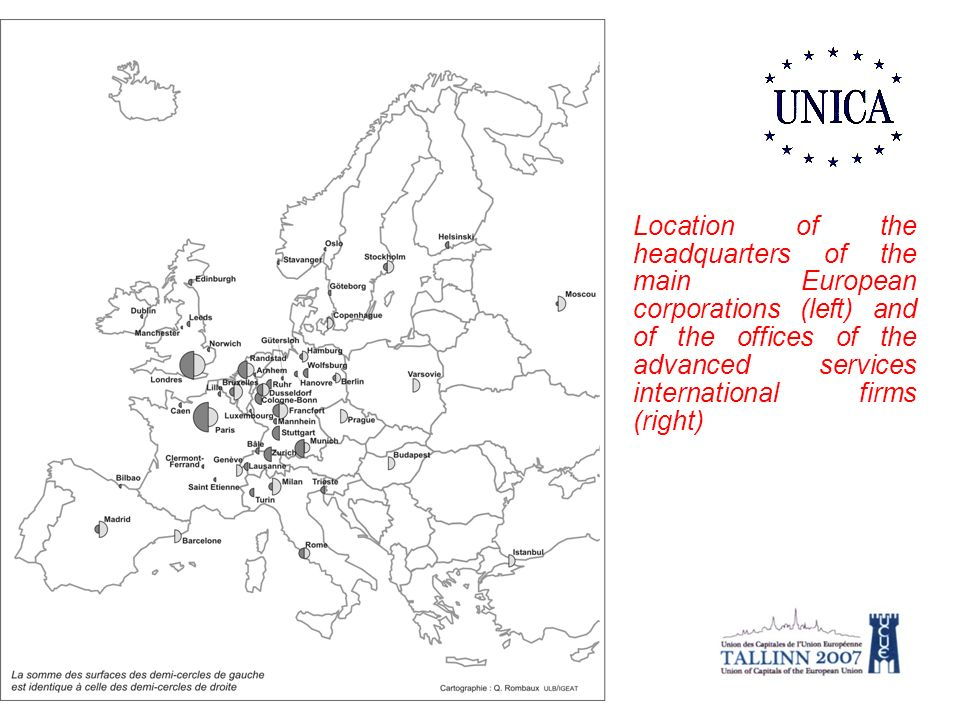 Location of the headquarters of the main European corporations (left) and of the offices of the advanced services international firms (right)