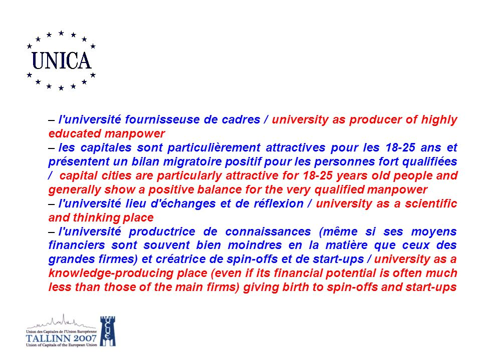 l université fournisseuse de cadres / university as producer of highly educated manpower
