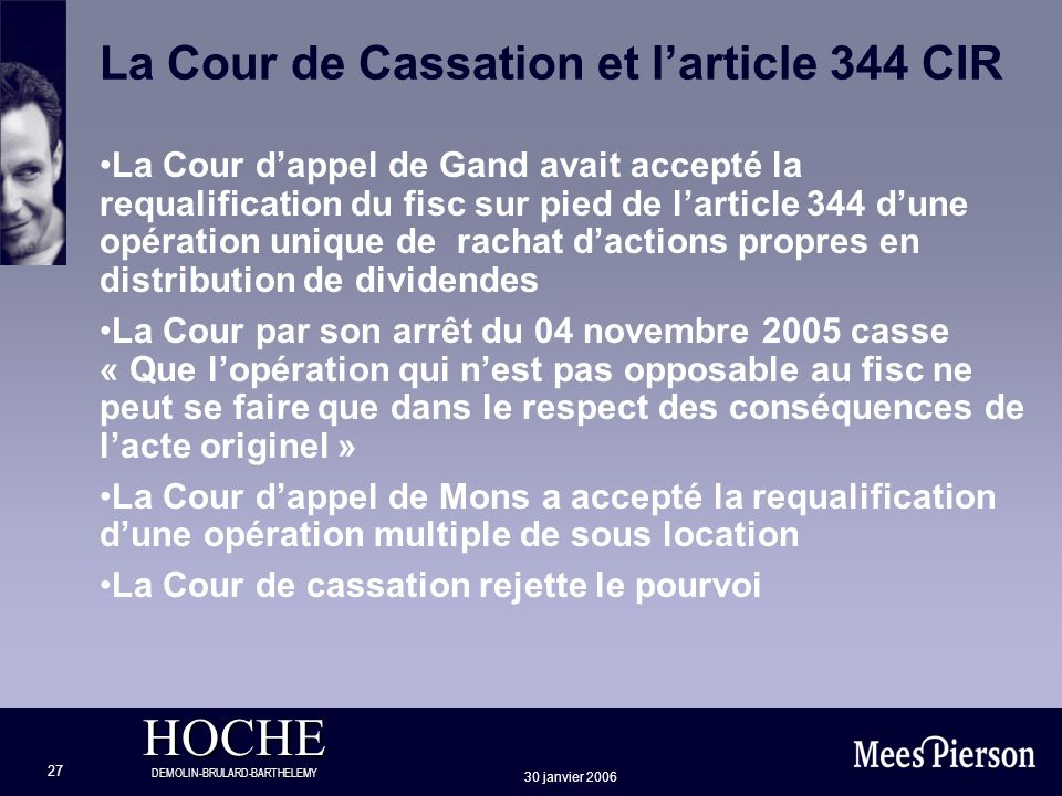 La Cour de Cassation et l'article 344 CIR