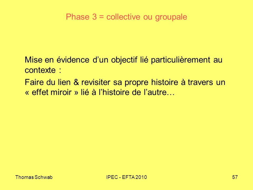 Phase 3 = collective ou groupale