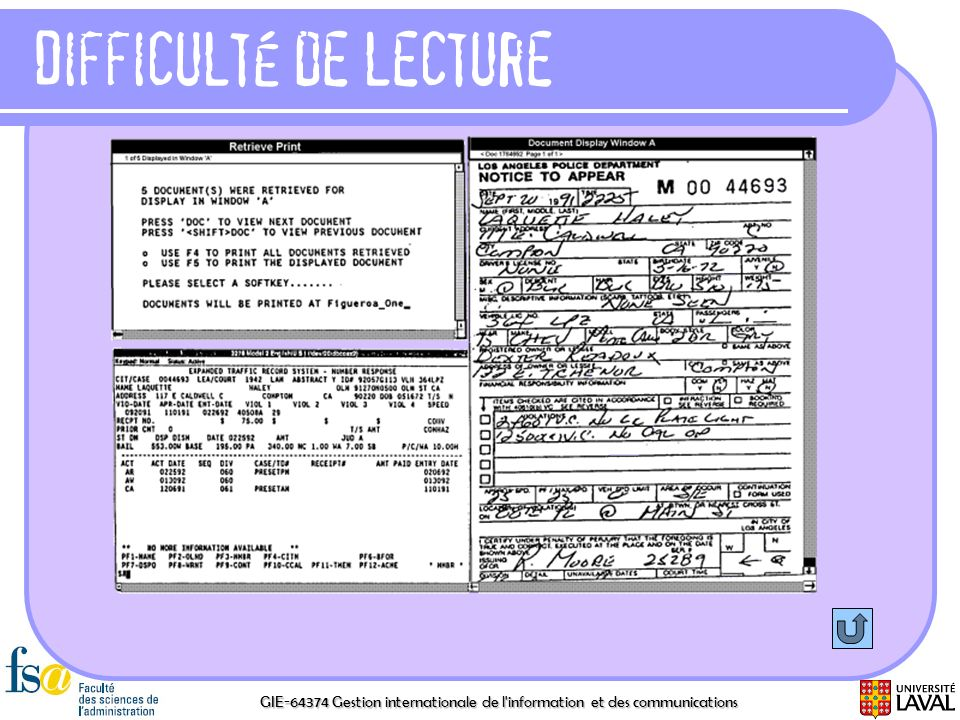 Difficulté de lecture GIE-64374 Gestion internationale de l information et des communications