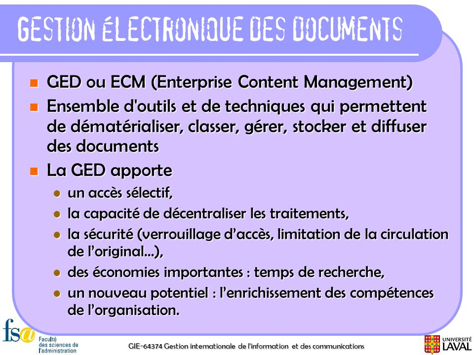 Gestion électronique des documents