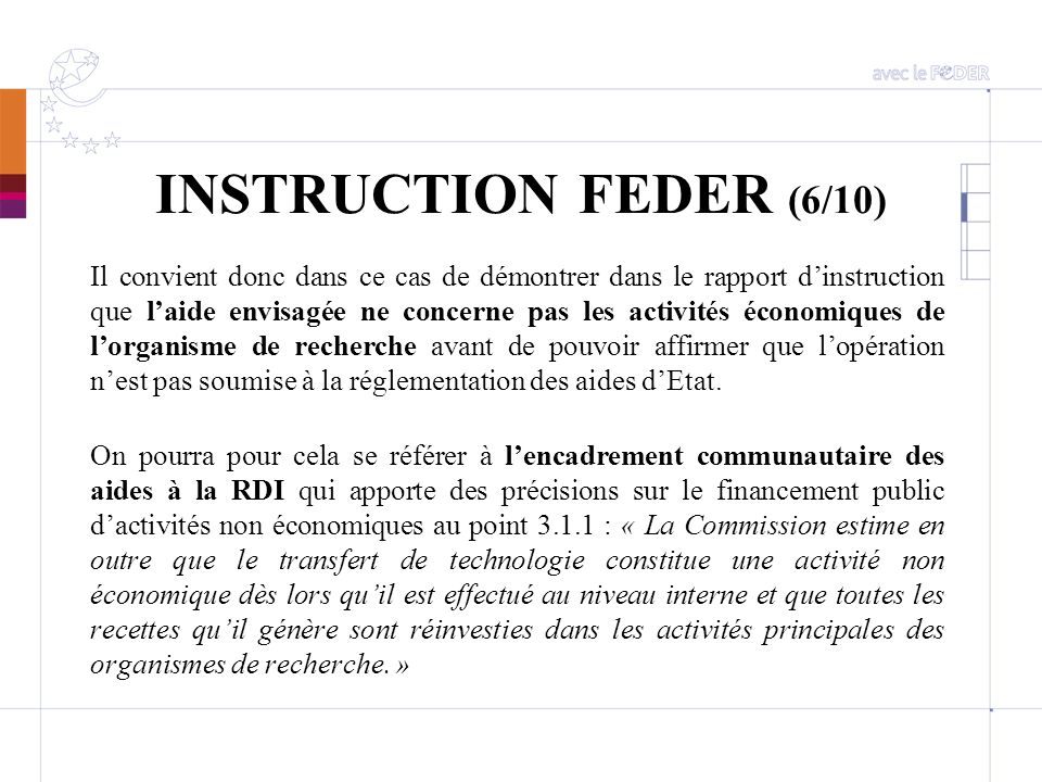 INSTRUCTION FEDER (6/10)