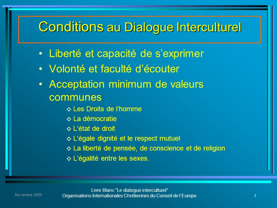 Conditions au Dialogue Interculturel