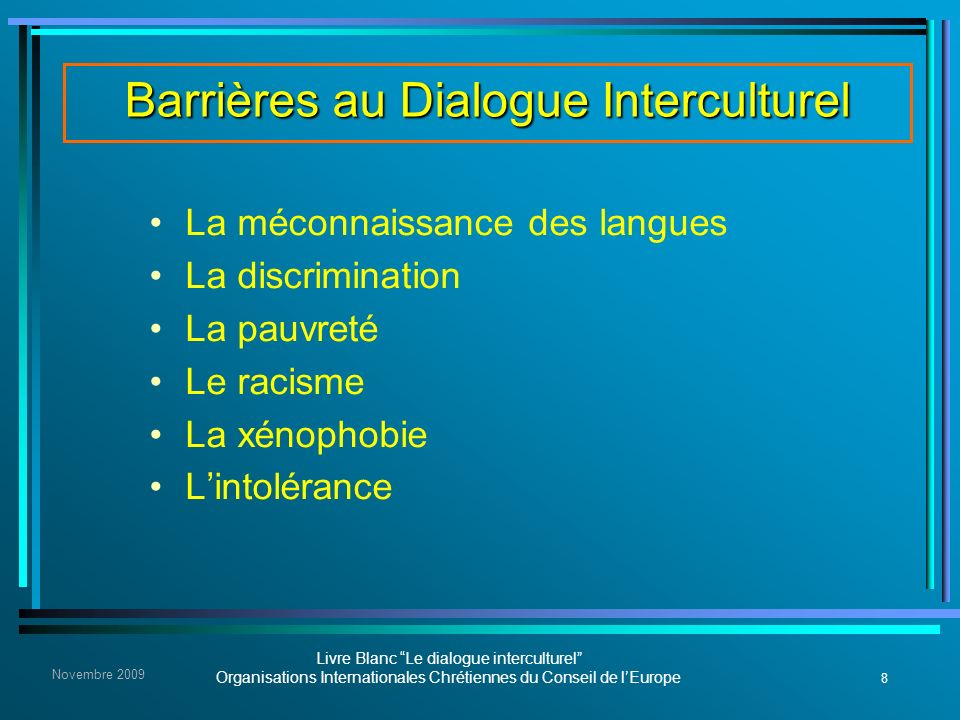 Barrières au Dialogue Interculturel