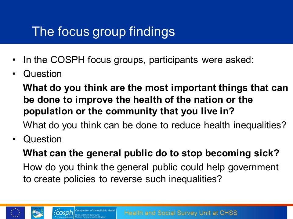 The focus group findings