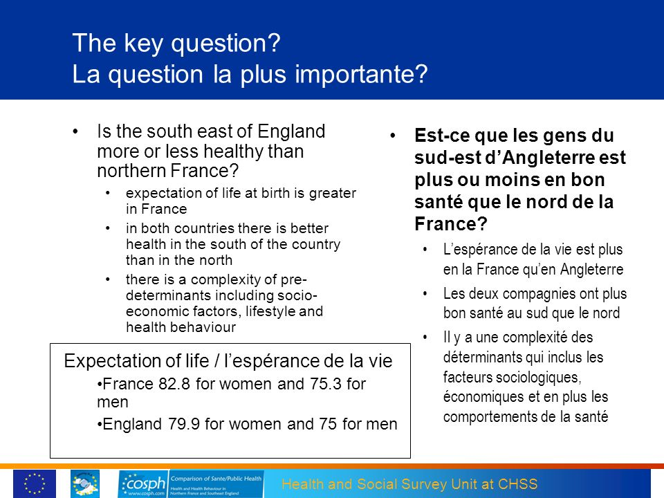 The key question La question la plus importante