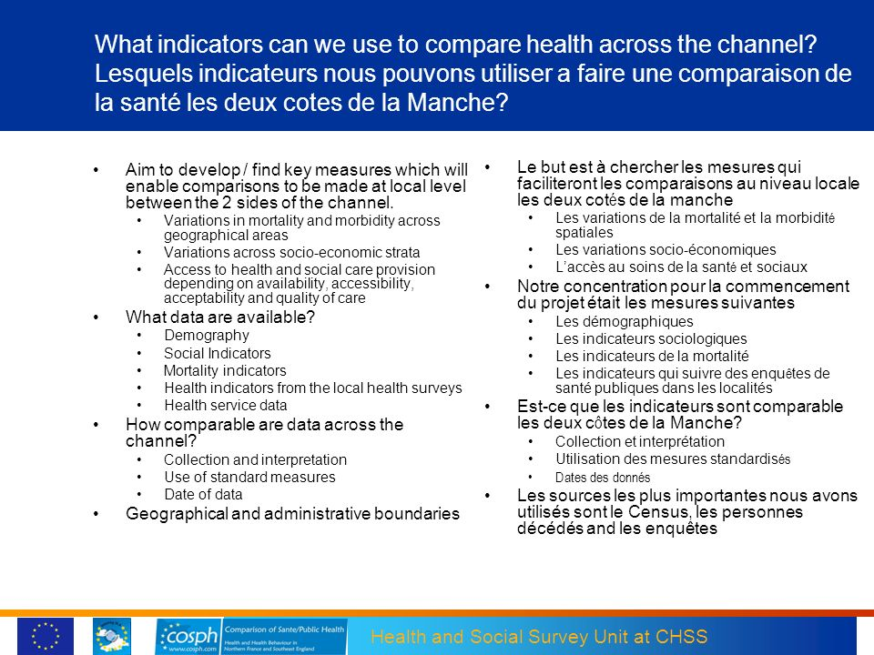 What indicators can we use to compare health across the channel