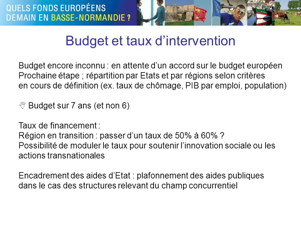 Budget et taux d'intervention
