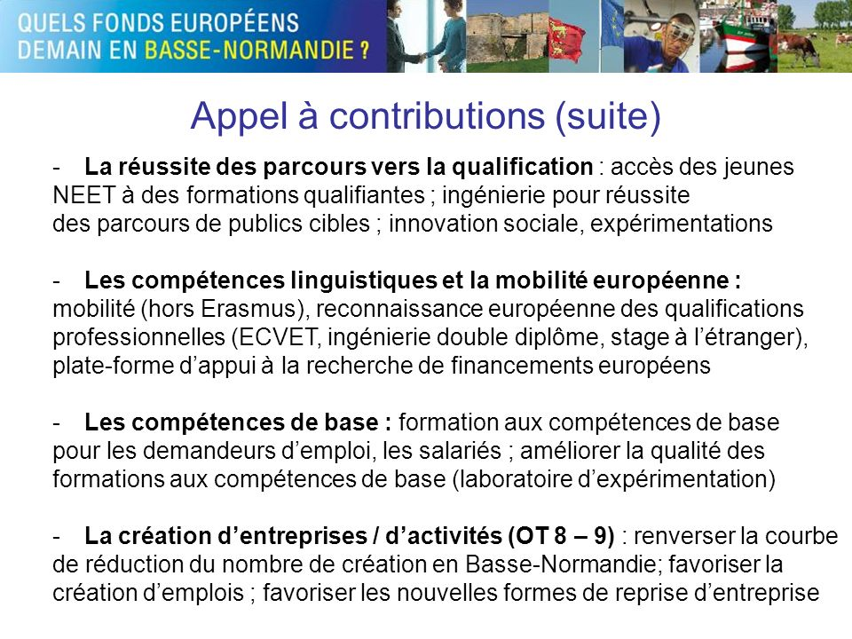 Appel à contributions (suite)