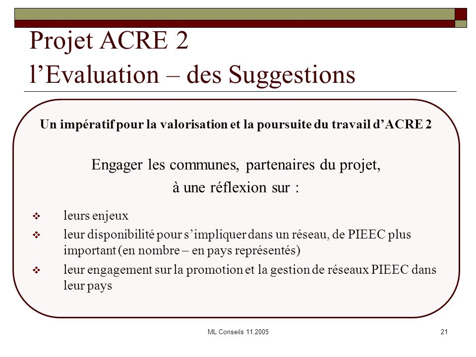 Projet ACRE 2 l'Evaluation – des Suggestions