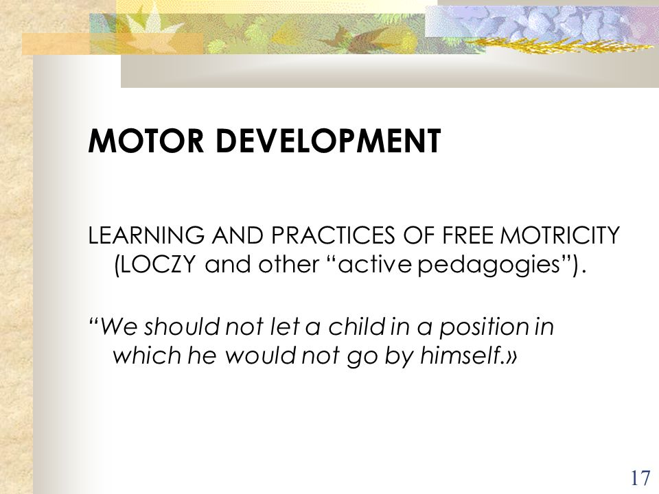 MOTOR DEVELOPMENT LEARNING AND PRACTICES OF FREE MOTRICITY (LOCZY and other active pedagogies ).