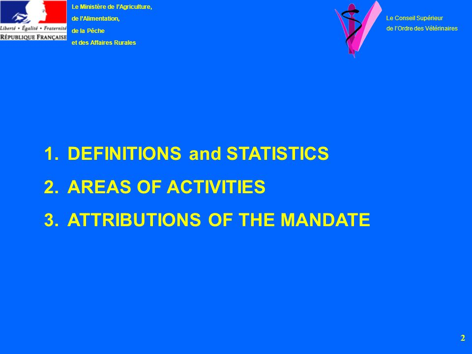 DEFINITIONS and STATISTICS AREAS OF ACTIVITIES