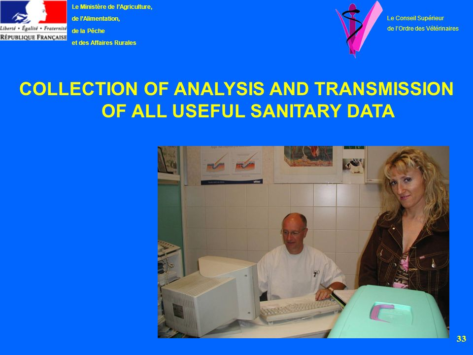 COLLECTION OF ANALYSIS AND TRANSMISSION OF ALL USEFUL SANITARY DATA