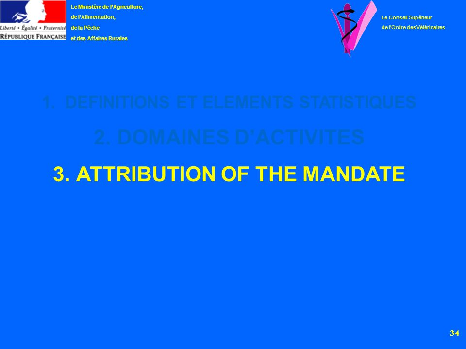 DEFINITIONS ET ELEMENTS STATISTIQUES ATTRIBUTION OF THE MANDATE