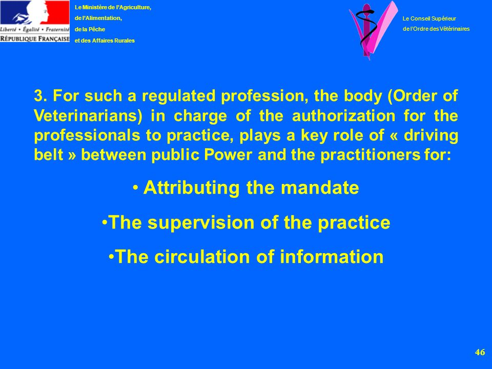 Attributing the mandate The supervision of the practice
