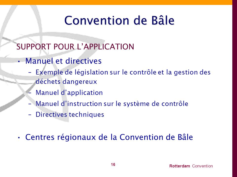 Convention de Bâle SUPPORT POUR L'APPLICATION Manuel et directives