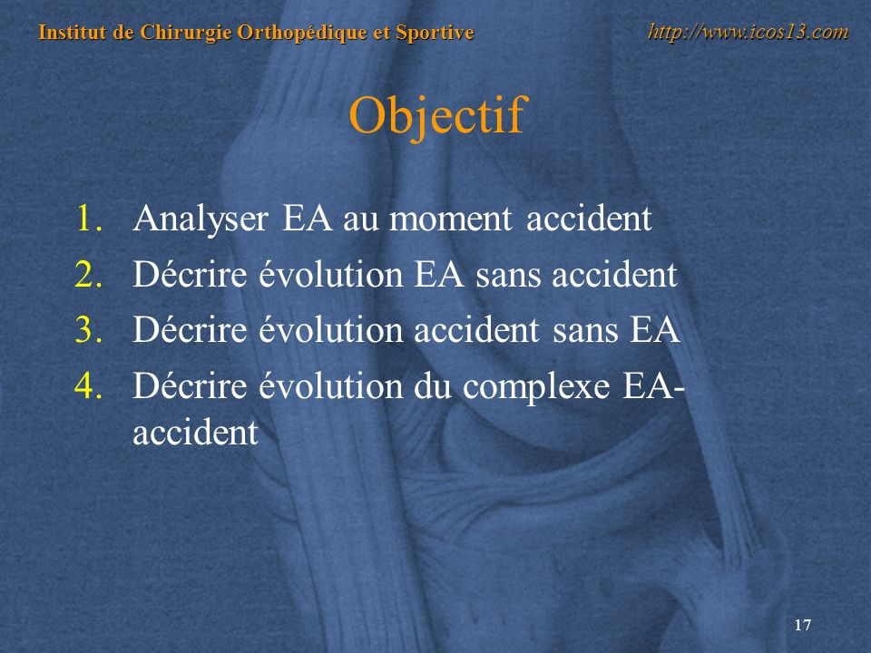 Objectif Analyser EA au moment accident