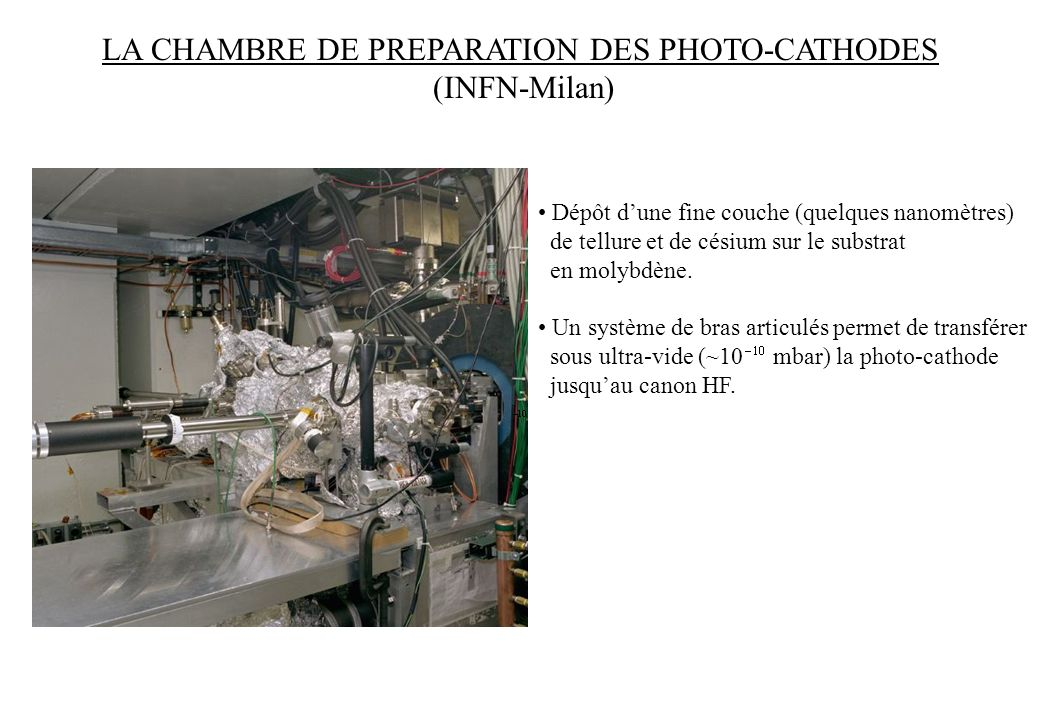 LA CHAMBRE DE PREPARATION DES PHOTO-CATHODES