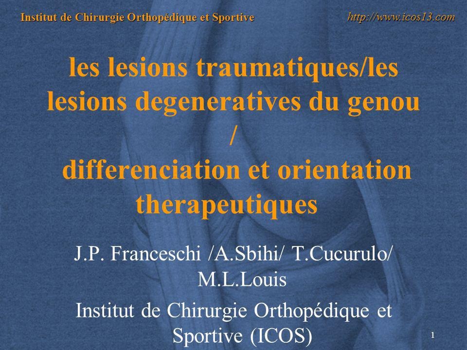 les lesions traumatiques/les lesions degeneratives du genou / differenciation et orientation therapeutiques