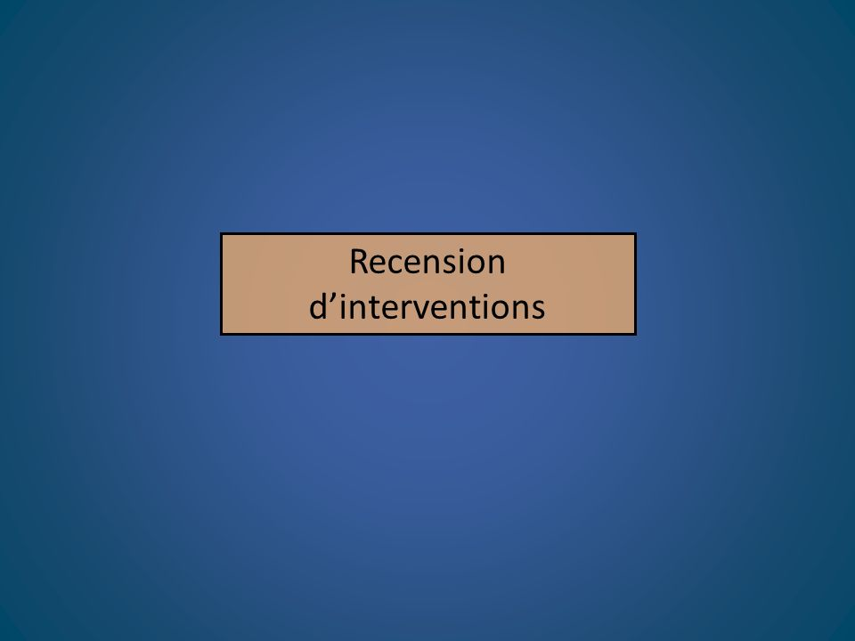 Recension d'interventions