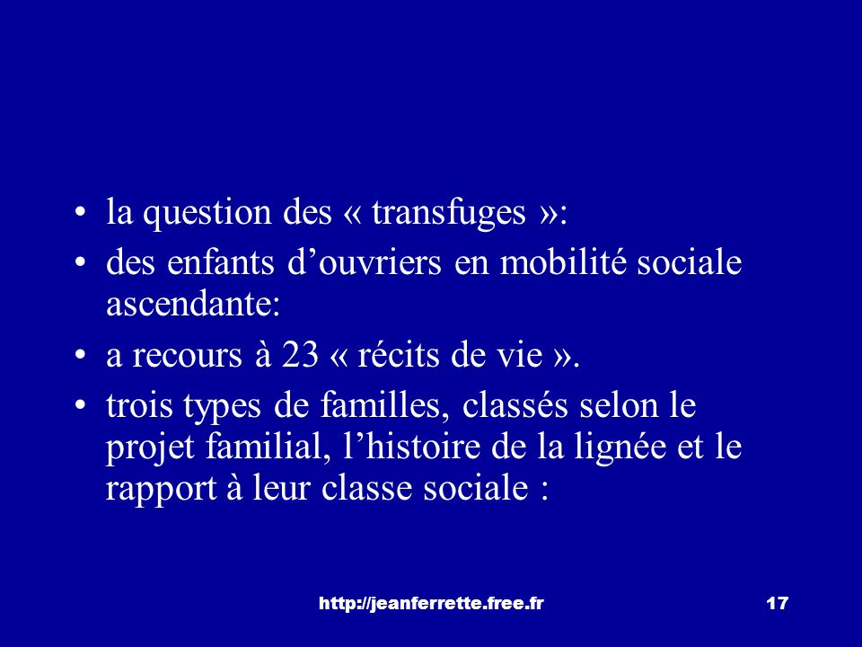 la question des « transfuges »: