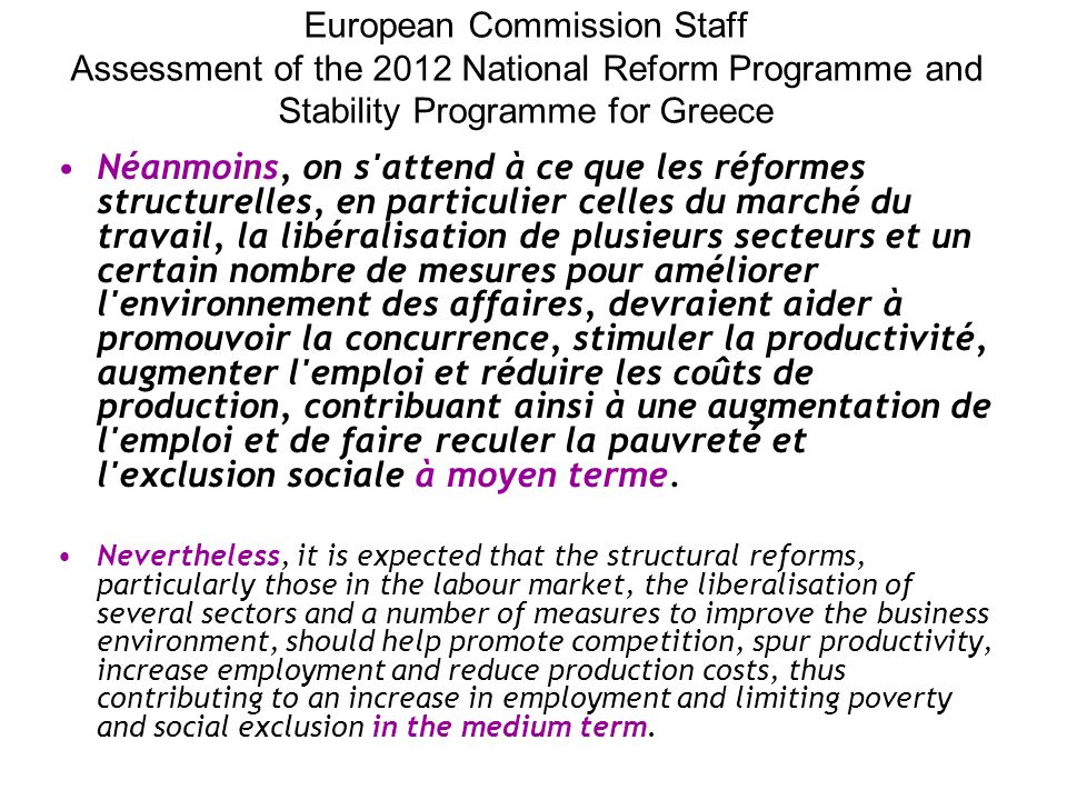European Commission Staff Assessment of the 2012 National Reform Programme and Stability Programme for Greece