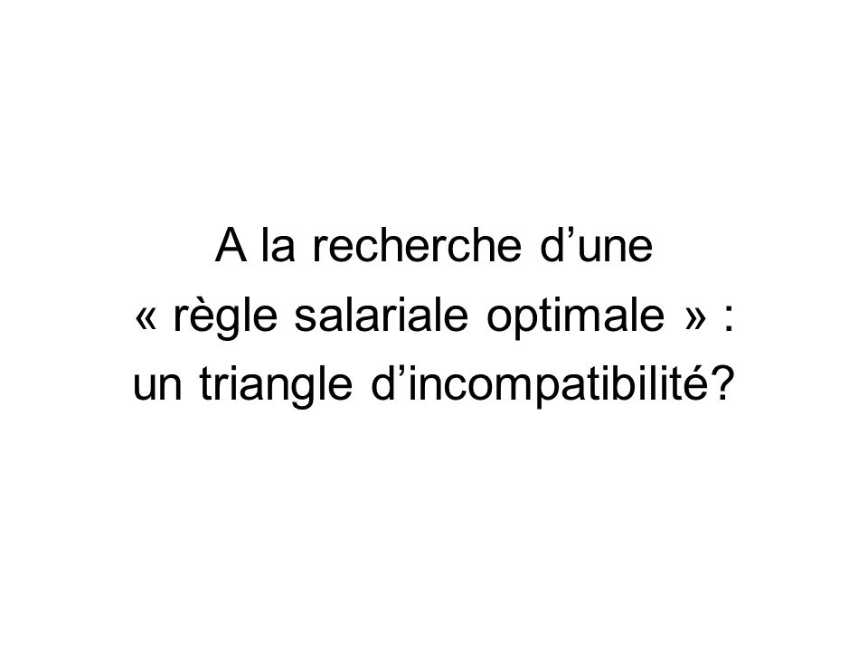 « règle salariale optimale » : un triangle d'incompatibilité