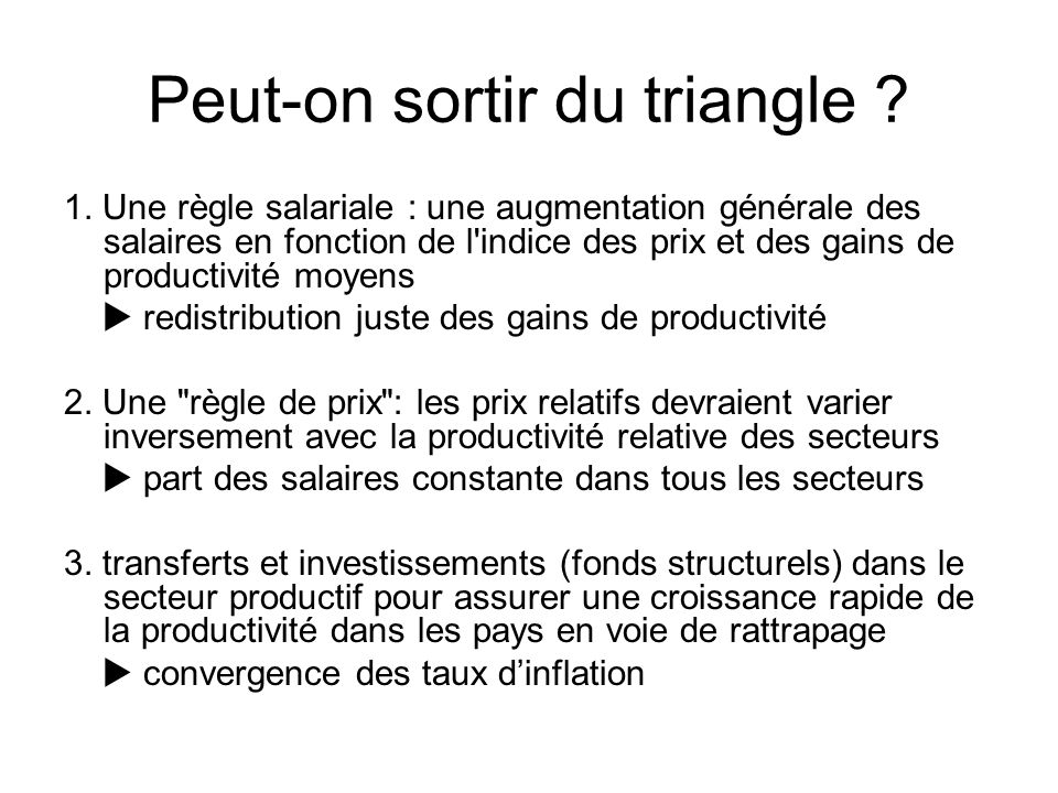 Peut-on sortir du triangle