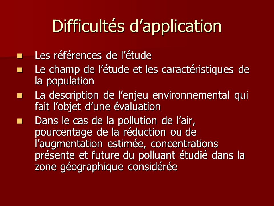 Difficultés d'application