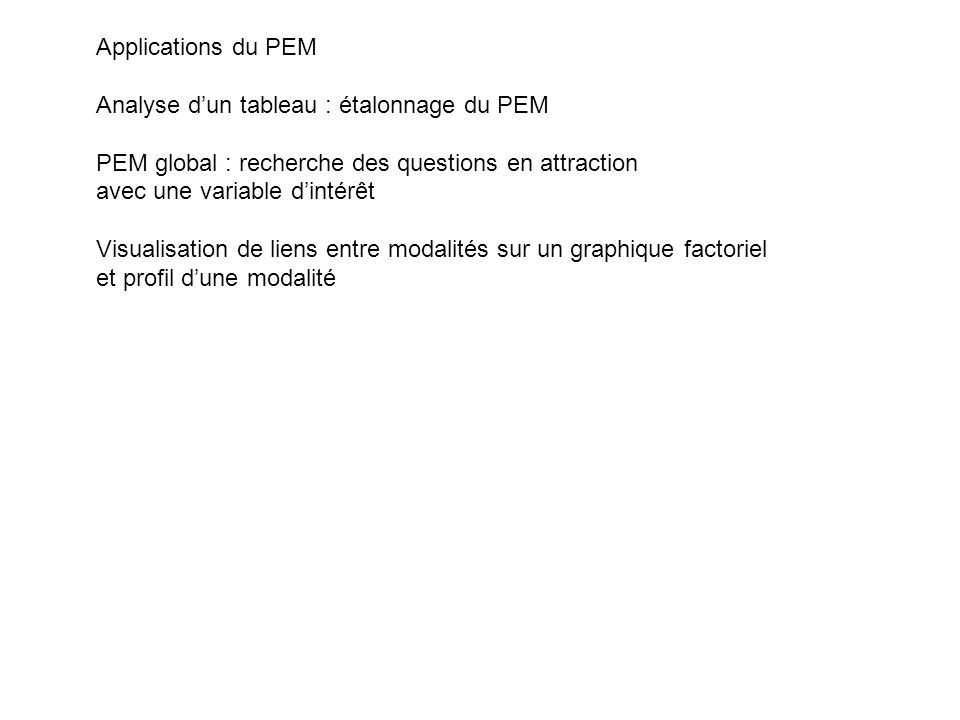 Applications du PEM Analyse d'un tableau : étalonnage du PEM. PEM global : recherche des questions en attraction.