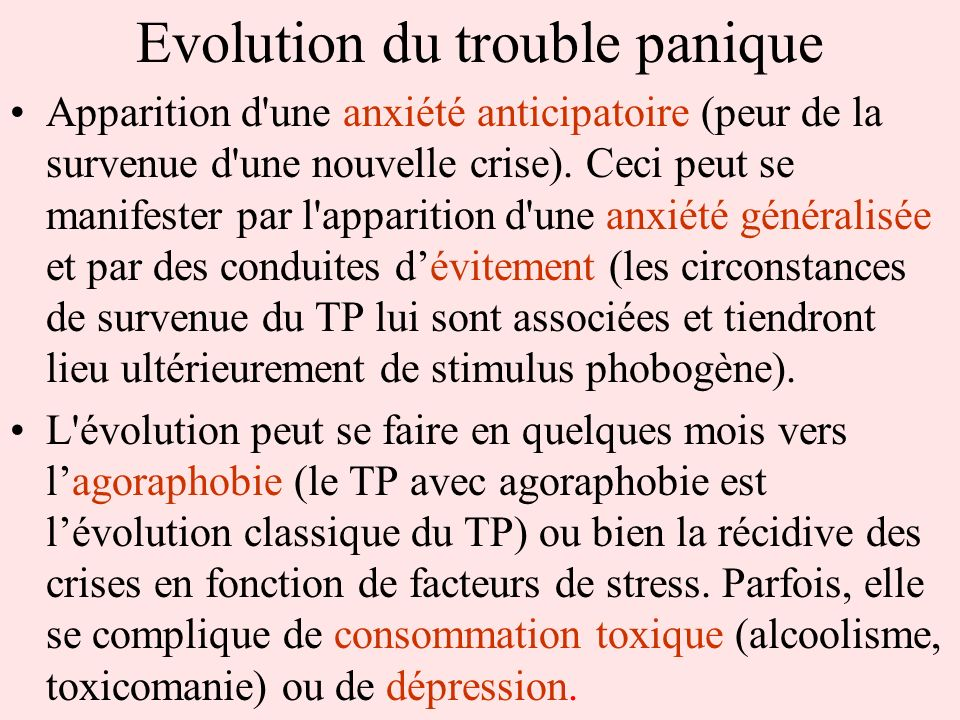 Evolution du trouble panique