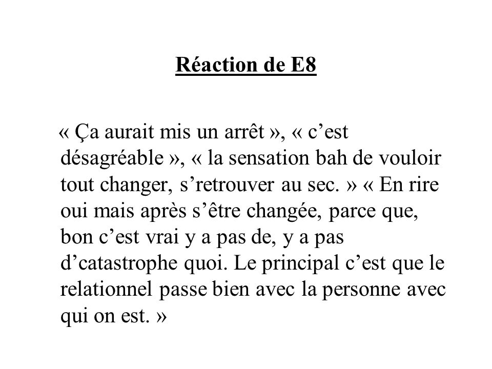 Réaction de E8