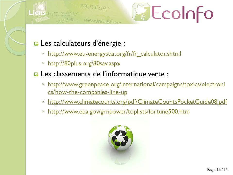 Les calculateurs d'énergie :