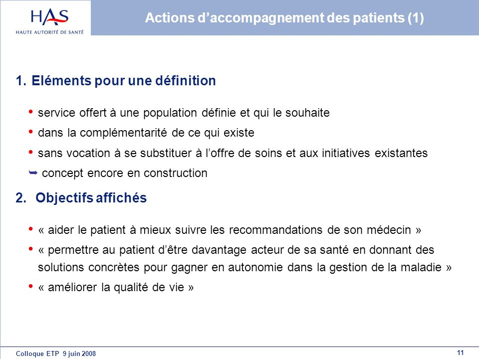 Actions d'accompagnement des patients (1)