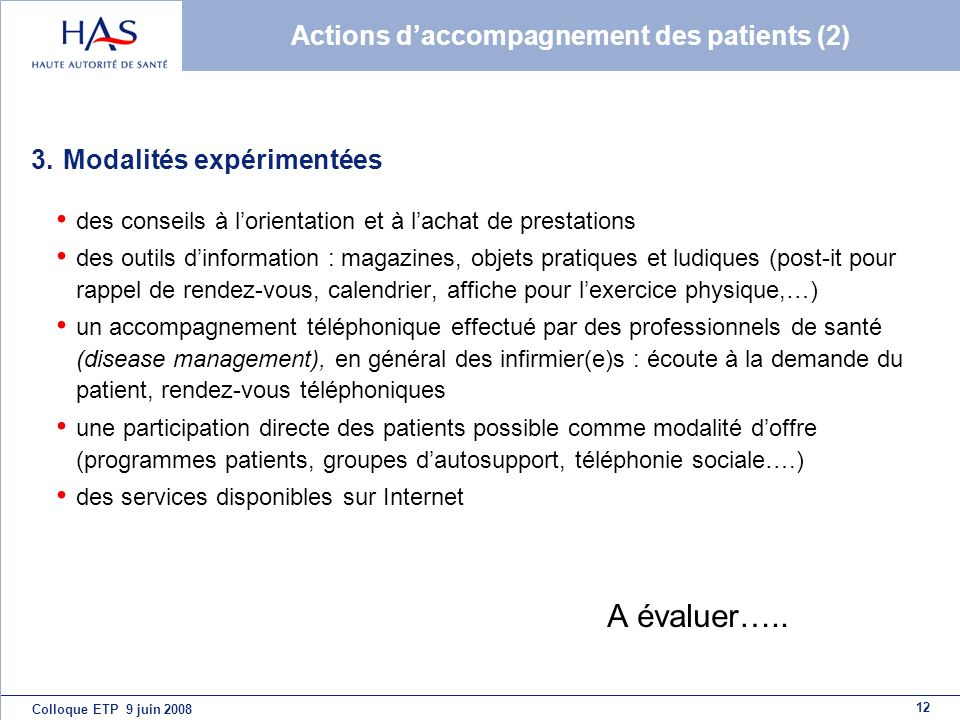 Actions d'accompagnement des patients (2)